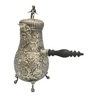 1890 English Sterling Silver Repousse Teapot Chocolate Pot Edwin Thomas Bryant Bacchanal Bachus Dutch