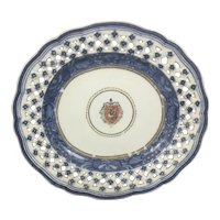 18th C Reticulated Chinese Qing Dynasty Export Porcelain Armorial Dish Plate Blue White