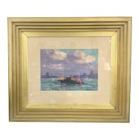 Art Deco Frame Edwin S. Clymer Pastel Skyline Marine Art Painting Drawing