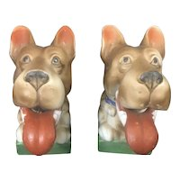 1940-50's Pair Bobble Head Nodder Dog Wagging Tongues Bisque Porcelain Japan Scooby Doo Great Dane