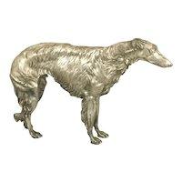 German Art Deco J.P. Kayser & Sohn Kayserzinn Silver Plate Pewter Russian Wolfhound Borzoi Dog Sculpture