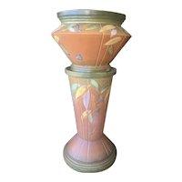Rare Roseville Pottery Futura Art Deco Jardiniere Planter Pedestal C1925
