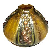 Art Nouveau Amalric A Walter Pate De Verre Glass Vase Berries Nancy France