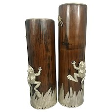 Pair Vintage Japanese Bamboo Vase W Silver Plate Frog Dragonfly Stone Inlay