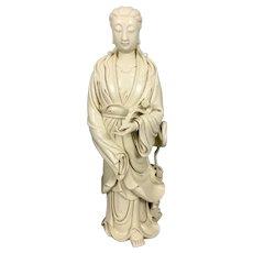 Antique Chinese Export Blanc De Chine Dehua Guanyin Kwanyin W Deer Ruyi Scepter Marked