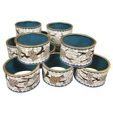 12 Vintage Chinese Round Cloisonne Napkin Rings Floral Blue Enamel Brass