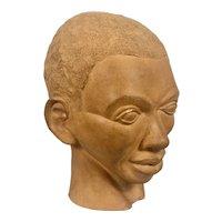 Wonderful 1930-40's WPA Era Terra Cotta Sculpture Bust Black Man Unsigned