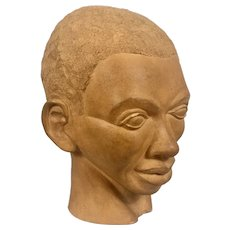 Wonderful 1930-40's WPA Era Terra Cotta Sculpture Bust Black Man Unsigned