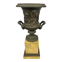 Antique Charles X French Bronze Urn On Sienna Marble Neoclassical Greek Roman
