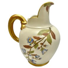 1885 Royal Worcester Cream Ware Creamer Pitcher Ewer Hand Painted Flowers Gilt Trim Flat Back Japonaise