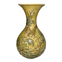 Vintage Lladro Porcelain Vase Raised Sparrows & Leaves Spain