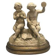 Antique French Terra Cotta Musical Cherub Group Sculpture On Wood Base