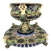 Huge 9th C Hugo Lonitz German Majolica Pottery Punch Bowl Centerpiece  & Under Plate Allegorical