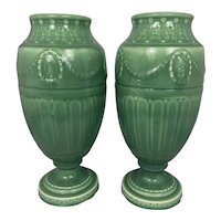 Pair Rookwood Pottery 1930 Art Deco Urns William McDonald Design Garland Swags Neoclassical