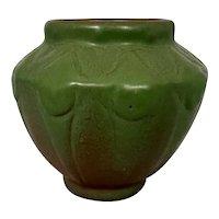 1930's Van Briggle Art Pottery Mountain Crag & Green Cabinet Vase Stylized Flowers 1933 World's Fair Novelty