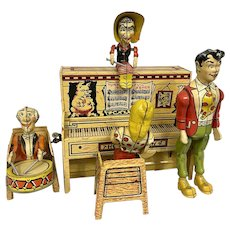 1946 Lil Abner Dogpatch Band Wind Up Tin Toy Working  Original Box Comic Book Character
