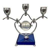 1930's Art Deco Mautner Farber NYC 3  Candelabra Chrome & Blue Glass W Clear Glass Center Ball