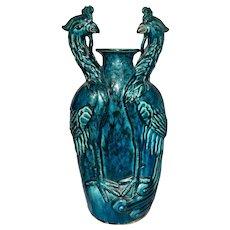 Late Qing Chinese Porcelain Turquoise Glazed Double Phoenix Conjoined Vase