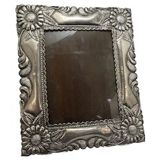 Massive 1940's Sterling Silver Peruvian Spanish Colonial Style Photo Picture Frame Repousse Peru