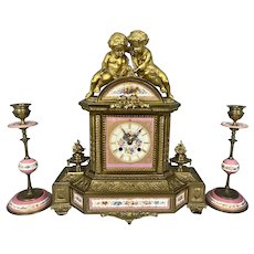 Antique French Bronze Porcelain Clock Cherubs W Turtle Garniture Japy Freres