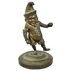 Victorian Bronze Mr. Punch (Sans Judy) Figural Cigar Saloon Smoking Accessory Sculpture