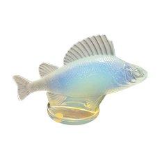 Vintage Lalique France Opalescent Art Glass Perch Car Mascot Fish Paris