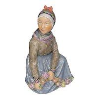 Rare Royal Copenhagen Fanoe Island Girl W Garland Figurine # 12413 Carl Martin Hansen