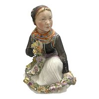 Rare 1955 Royal Copenhagen Porcelain Amager Girl W Garland Figurine # 12412 Carl Martin Hansen