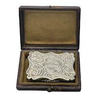 1842 Victorian Edward Smith Birmingham Sterling Silver Vinaigrette W Original Box Gold Wash