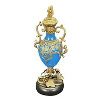 Large Antique French Opaline Glass Bronze Grand Tour Perfume Bottle Royal Palais Squirrel Finial Marble Base