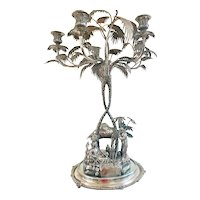 "Massive Victorian Elkington Silver Plate Figural Candelabra Centerpiece Tea At The Oasis 30"" Tall"