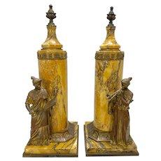 Pr 19th C Vienna Austria Figural Bronze & Sienna Marble Urn Sculptures Neoclassical Empire Style