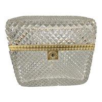 19th C French Cut Baccarat Crystal Glass Gilt Bronze Ormolu Casket Dresser Box