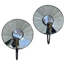 Pr Vintage Restoration Hardware Electric Metal Round Mirror Wall Sconces Reflective Backed Mirrors W Center Convex Glass