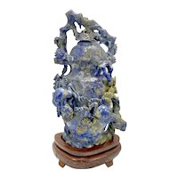 Vintage Chinese Lapis Lazuli Stone Carved Lidded Vessel Vase W Box Cranes In Trees