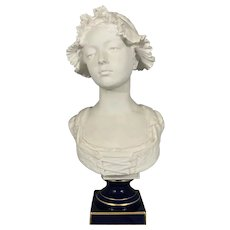 """21.5"""" Victorian French Raymond Laporte Limoges Bisque Porcelain Bust Of Young Lady E Troili Sculpture"""