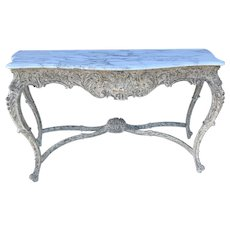 Antique French Louis XV Carved Wood Serpentine Console Entry Table W Marble Top