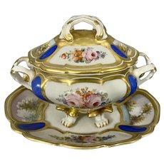 Old P. Limoges France Porcelain Gravy Sauce Boat & Under Plate Covered Serving Dish Hand Painted Floral
