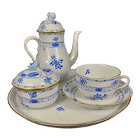 Herend Porcelain Blue Garden Partial Tea Set W Tray Blue Flowers Gilt Trim Hungary