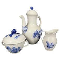 Royal Copenhagen Denmark Porcelain Blue Flowers Braided Tea Pot Sugar Bowl & Creamer