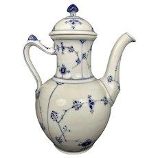 Danish Royal Copenhagen Blue Fluted Half Lace Coffee /Tea Pot Denmark 1st Quality