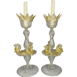 Pr Vintage Salviati Murano Venetian Art Glass Candle Holders Clear Gold Dolphins