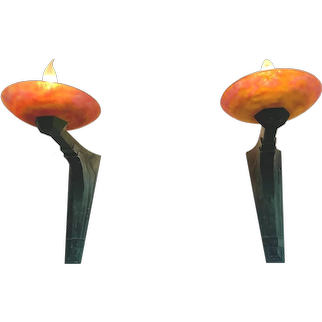 Pr French Art Deco Max Le Verrier Bronze Wall Sconce Lamps W Daum Nancy Glass Shades