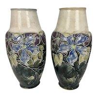 Pair Art Nouveau English Royal Doulton Stoneware Vases By Bessie Newbury W Raised Flowers