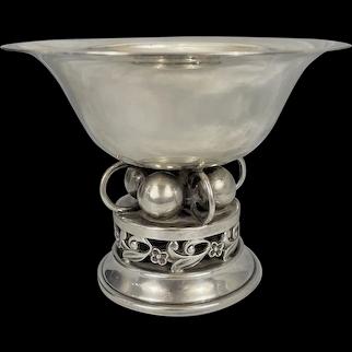 Vintage B&M Baldwin & Miller Sterling Silver Compote Dish Ball & Ring Art Deco Design