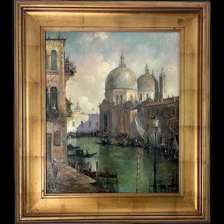 Artist Manfred Rapp Oil Board Masonite Painting Venice Canals Italy Plein Air Coastal Landscape