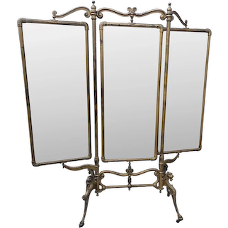 Antique French Gilt Cast Iron Cheval Tailors Dressing Floor Mirror W Bevel Glass Panels Griffin Paw Feet Triptych