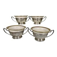 4 Frank Whiting Sterling Silver Bouillon Bowls With Lenox Liner Neoclassical Pierced Bellflower Garland