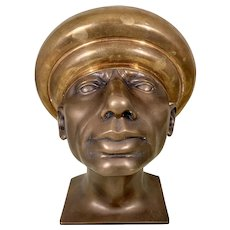 Vintage 2 Tone Patinated Bronze Bust Sculpture Male Continental