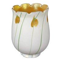 1920's Steuben Carder Art Glass Shade Gold Green Iridescent Calcite Hearts & Vines